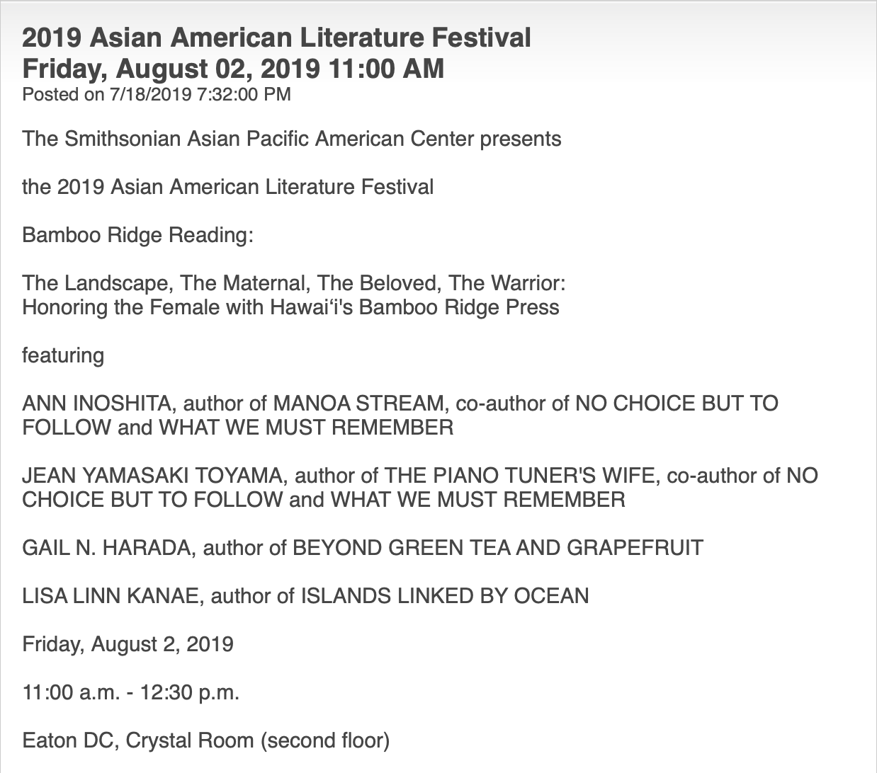 Jean Toyama will read at the Smithsonian's Crystal Room on Friday 08.02.19 at 11:00 a.m.