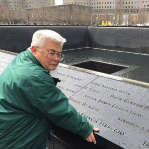 Lanning at the NYC 9-11 Memorial