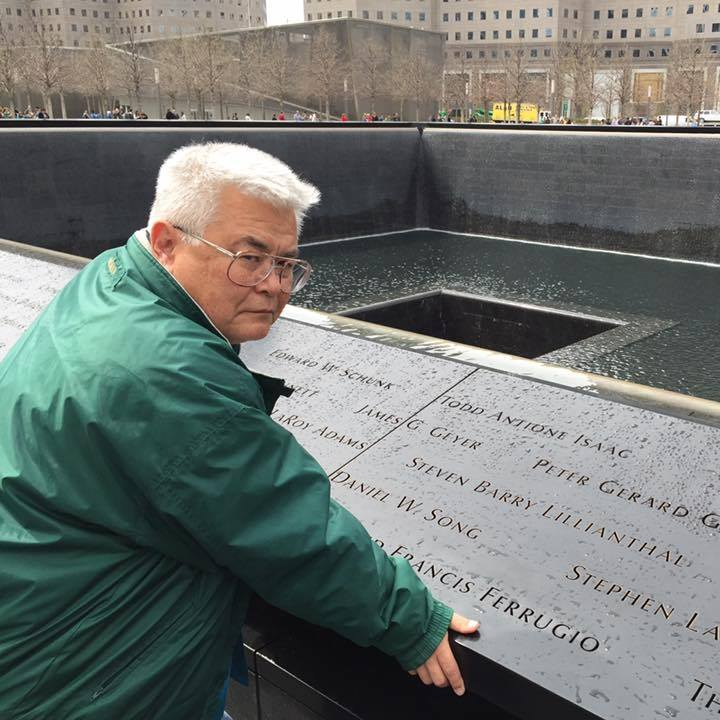 Lanning Lee at the site of 9-11 Memorial in NYC.