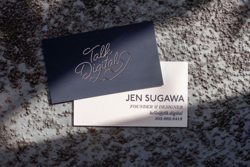 jennifer sugawa business card for her company called talk digital
