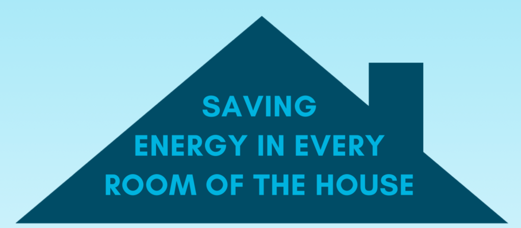 pitch of a house roof with the words saving energy in every room of the house